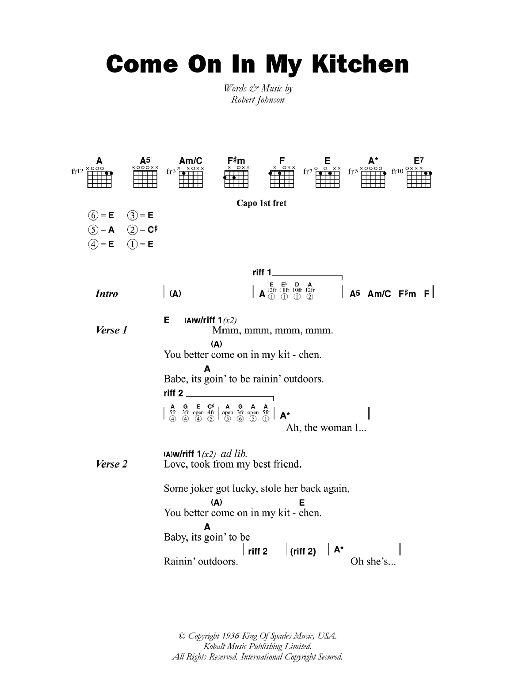 Come On In My Kitchen sheet music for guitar solo (chords, lyrics, melody) by Robert Johnson