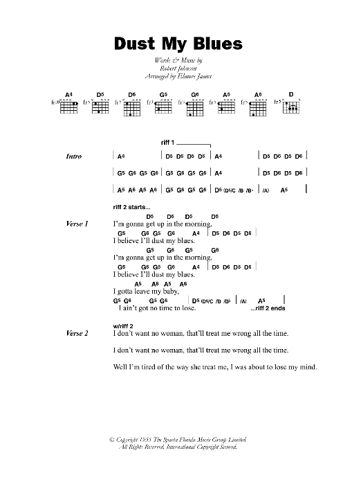 Dust My Blues sheet music for guitar solo (chords, lyrics, melody) by Robert Johnson