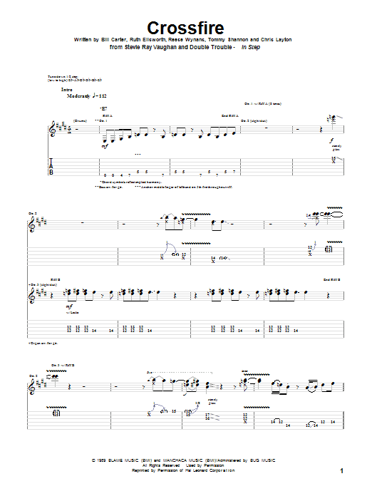 Tablature guitare Crossfire de Stevie Ray Vaughan - Tablature Guitare
