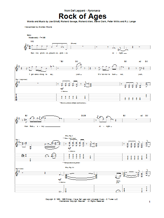 Tablature guitare Rock Of Ages de Def Leppard - Tablature Guitare