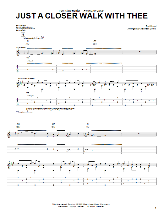 Tablature guitare Just A Closer Walk With Thee de Steve Hunter - Tablature Guitare