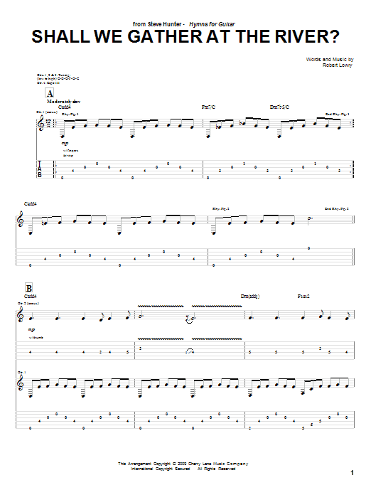 Shall We Gather At The River? sheet music for guitar solo (tablature) by Robert Lowry