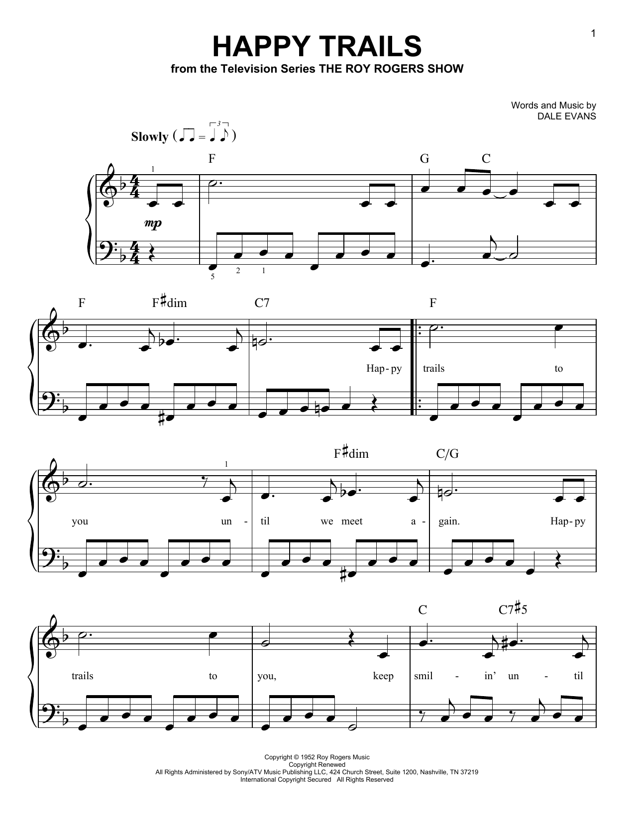 happy trails sheet music by roy rogers easy piano 69951. Black Bedroom Furniture Sets. Home Design Ideas