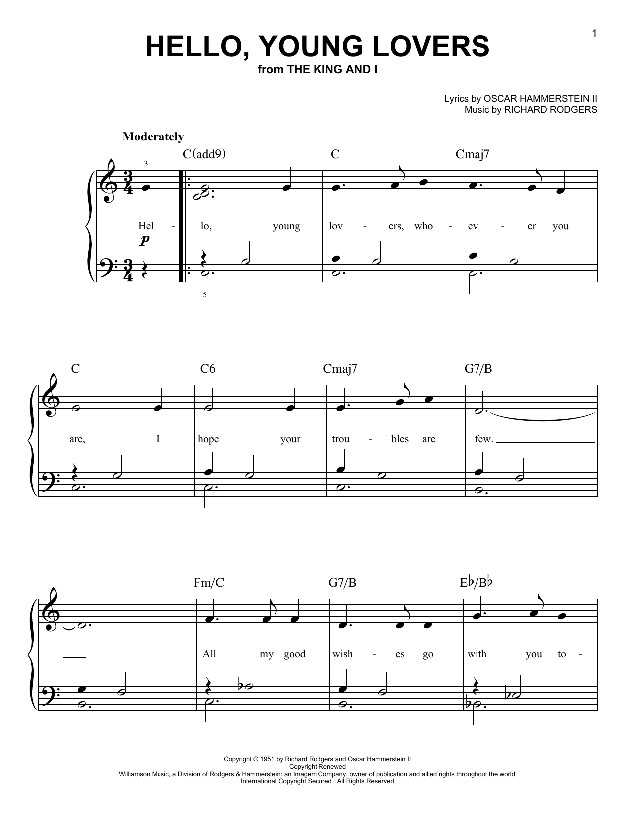 Partition piano Hello, Young Lovers de Rodgers & Hammerstein - Piano Facile
