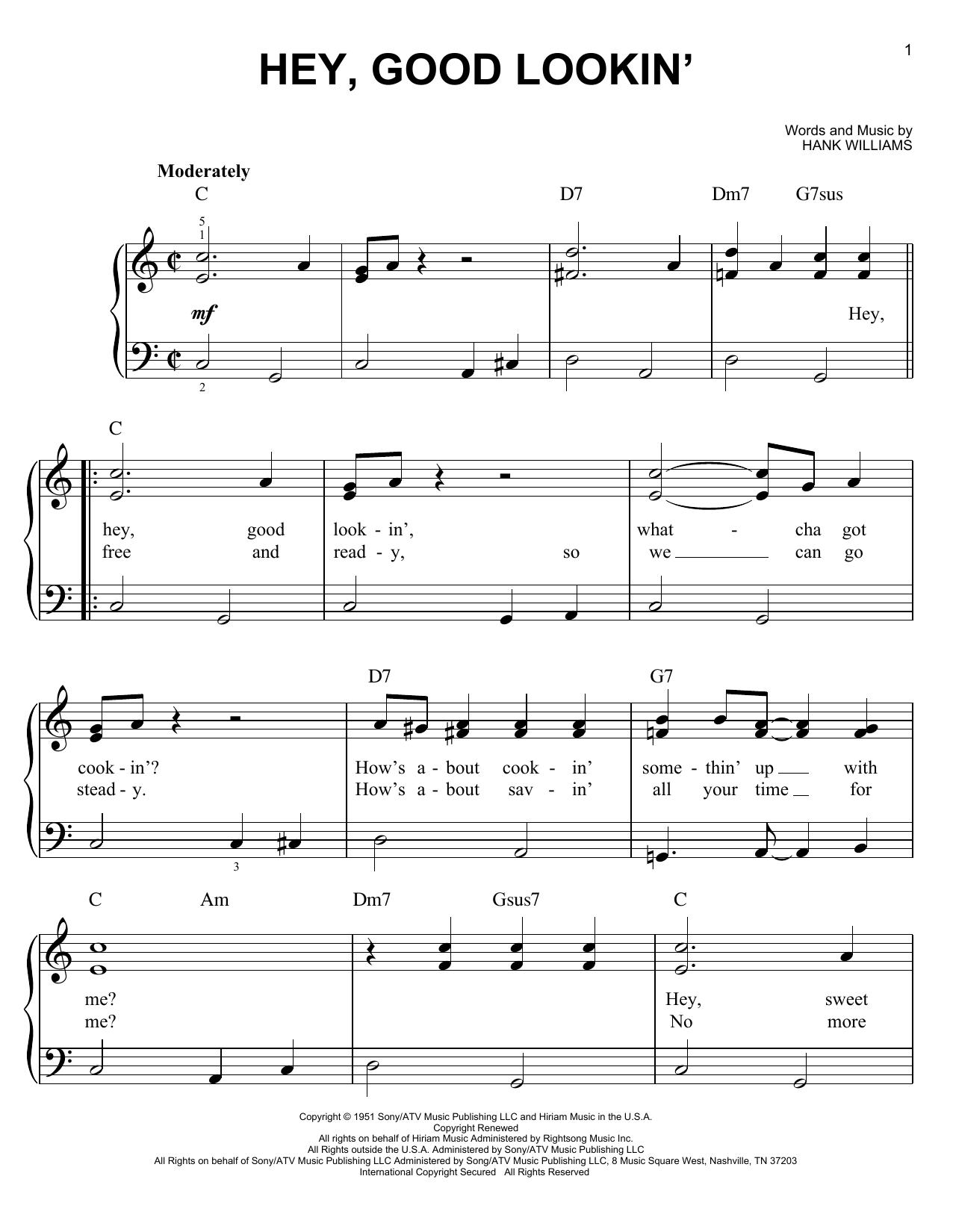 Partition piano Hey, Good Lookin' de Hank Williams - Piano Facile