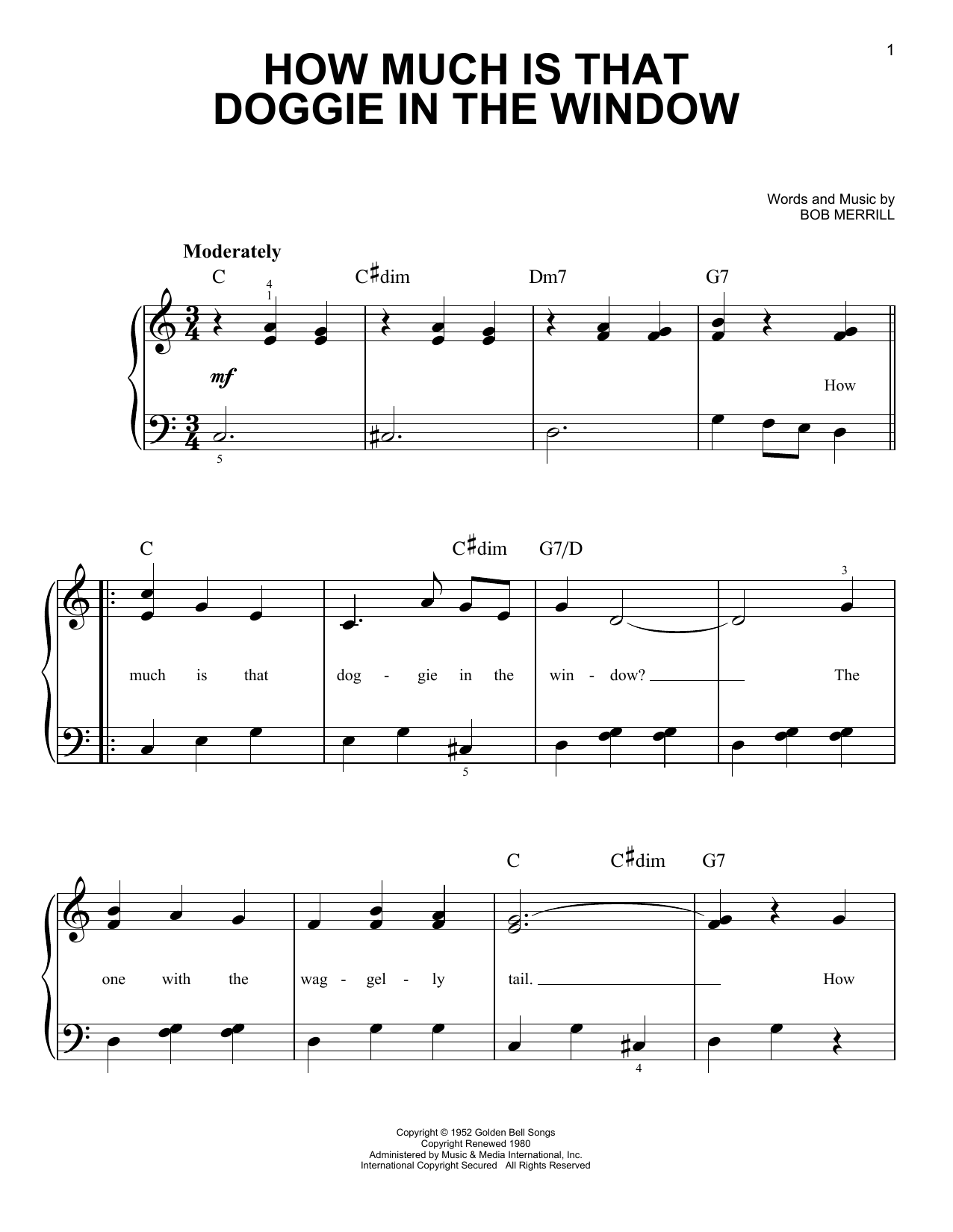 How Much Is That Doggie In The Window sheet music for piano solo (chords) by Bob Merrill
