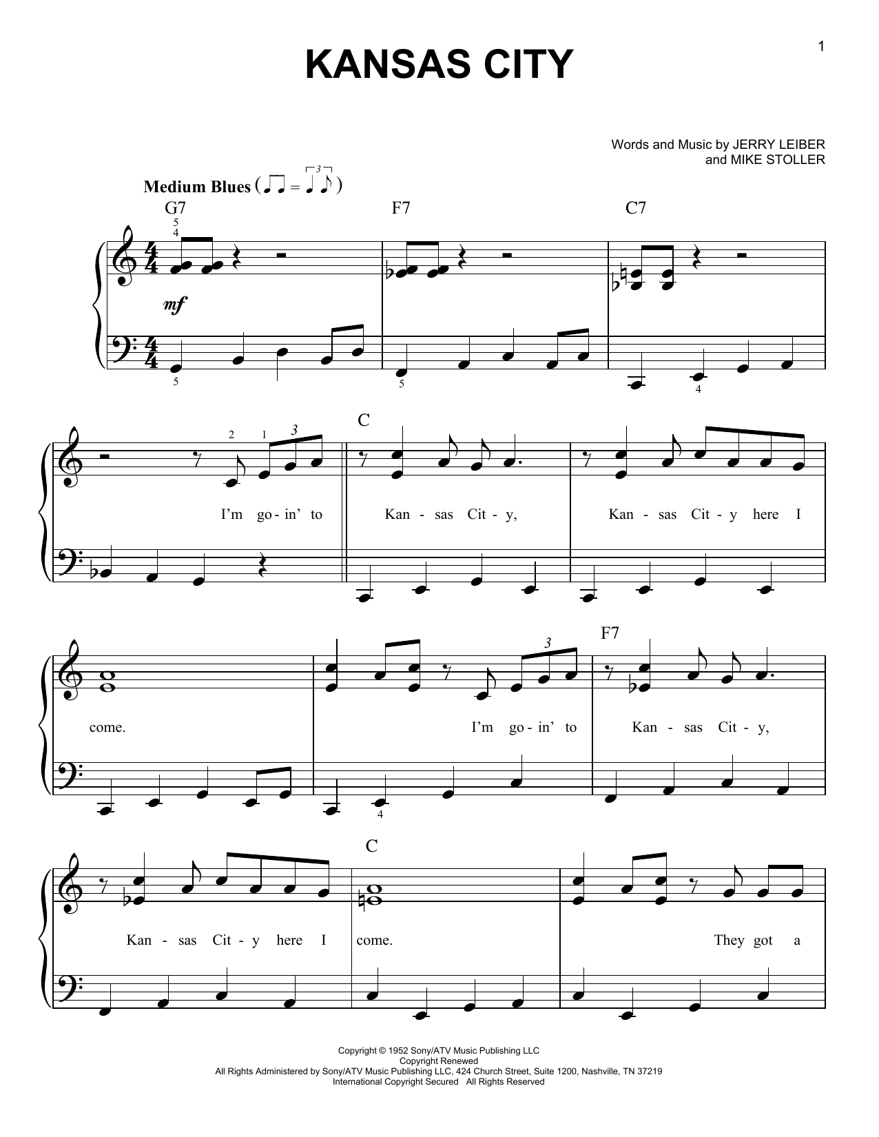 Partition piano Kansas City de Wilbert Harrison - Piano Facile
