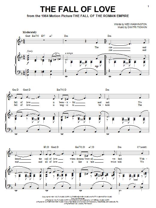 Partition piano The Fall Of Love de Dimitri Tiomkin - Piano Voix Guitare (Mélodie Main Droite)