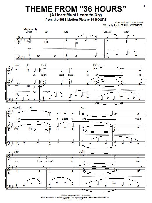 "Partition piano Theme From ""36 Hours"" de Dimitri Tiomkin - Piano Voix Guitare (Mélodie Main Droite)"