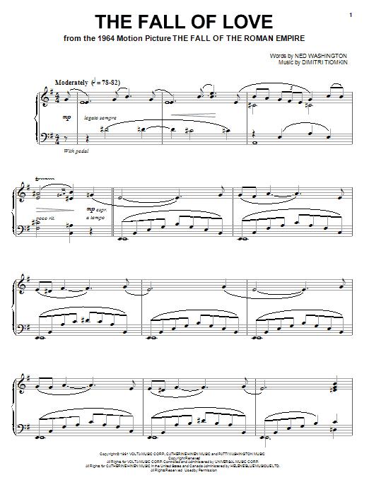 Partition piano The Fall Of Love de Dimitri Tiomkin - Piano Solo