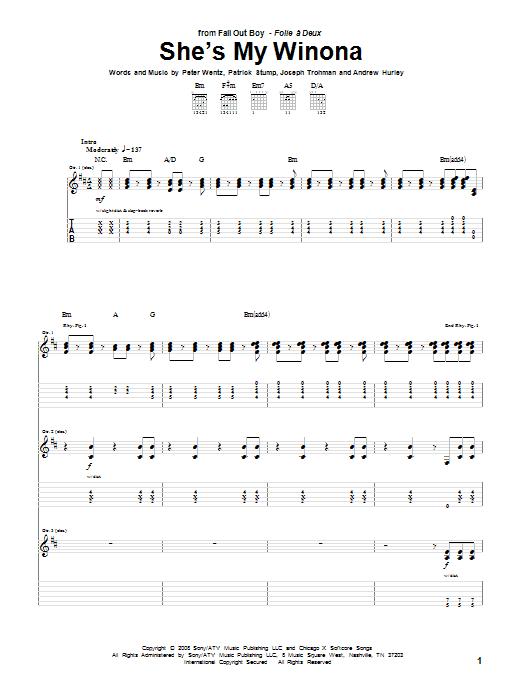 Tablature guitare She's My Winona de Fall Out Boy - Tablature Guitare