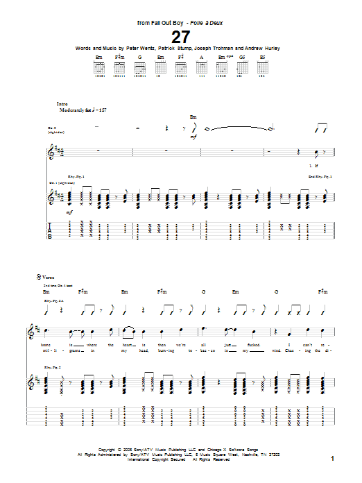 27 sheet music for guitar solo (tablature) by Peter Wentz