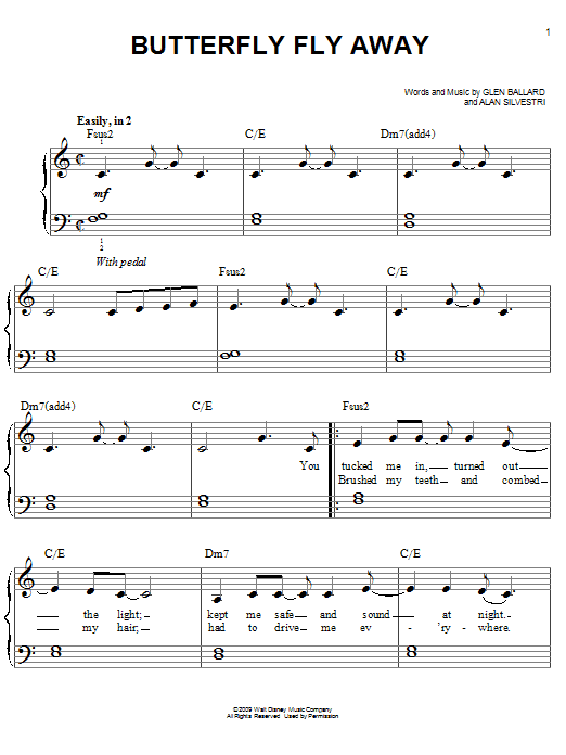 Partition piano Butterfly Fly Away de Miley Cyrus - Piano Facile