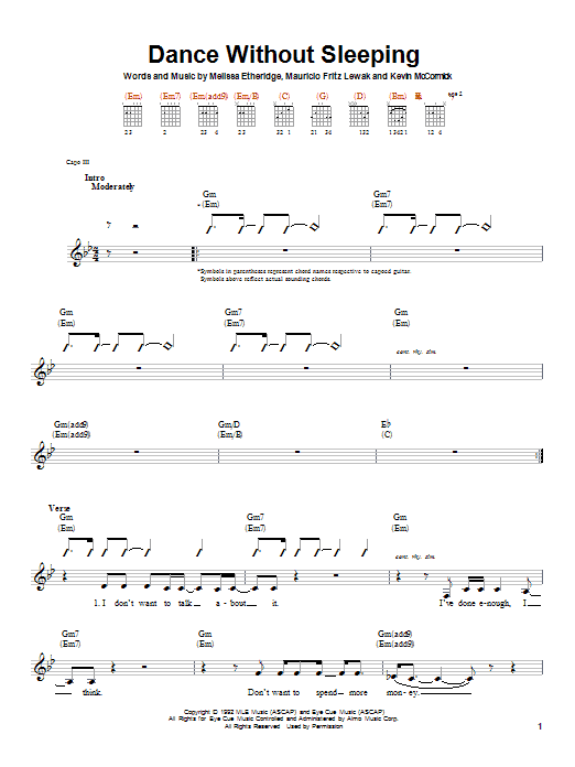 Tablature guitare Dance Without Sleeping de Melissa Etheridge - Autre