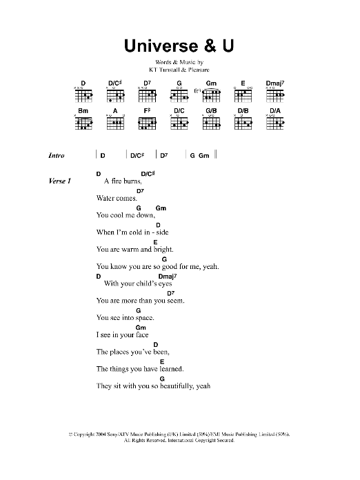 Universe and U sheet music for guitar solo (chords, lyrics, melody) by Pleasure