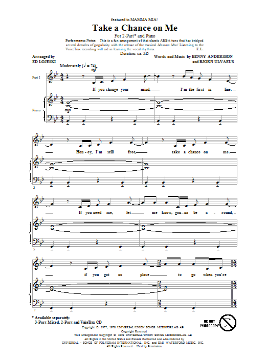 Take A Chance On Me sheet music for choir and piano (duets) by Benny Andersson