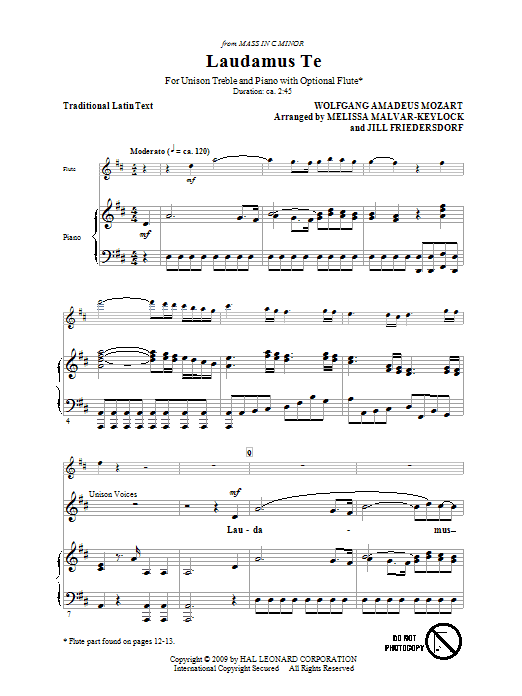 Laudamus Te sheet music for choir and piano (solo) by Wolfgang Amadeus Mozart