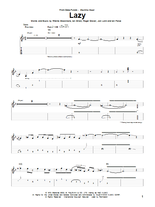 Tablature guitare Lazy de Deep Purple - Tablature Guitare