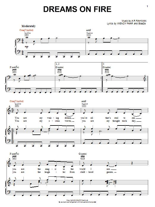 Partition piano Dreams On Fire de A.R. Rahman - Piano Voix Guitare (Mélodie Main Droite)