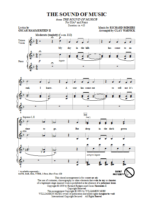 Partition chorale The Sound Of Music de Clay Warnick - SSA