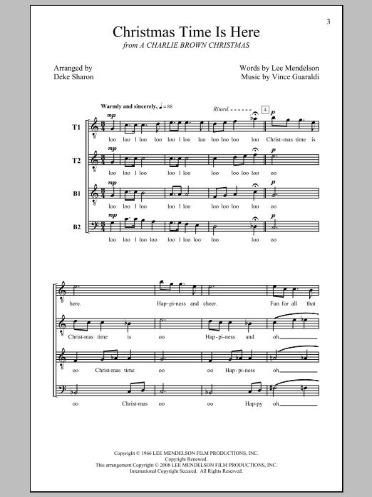 Partition chorale Christmas Time Is Here de Deke Sharon - TTBB