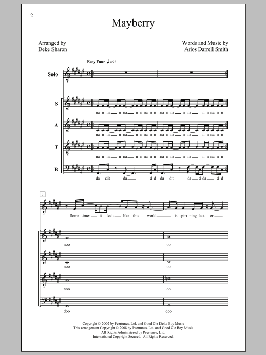 Mayberry sheet music for choir and piano (SATB) by Arlos Darrell Smith