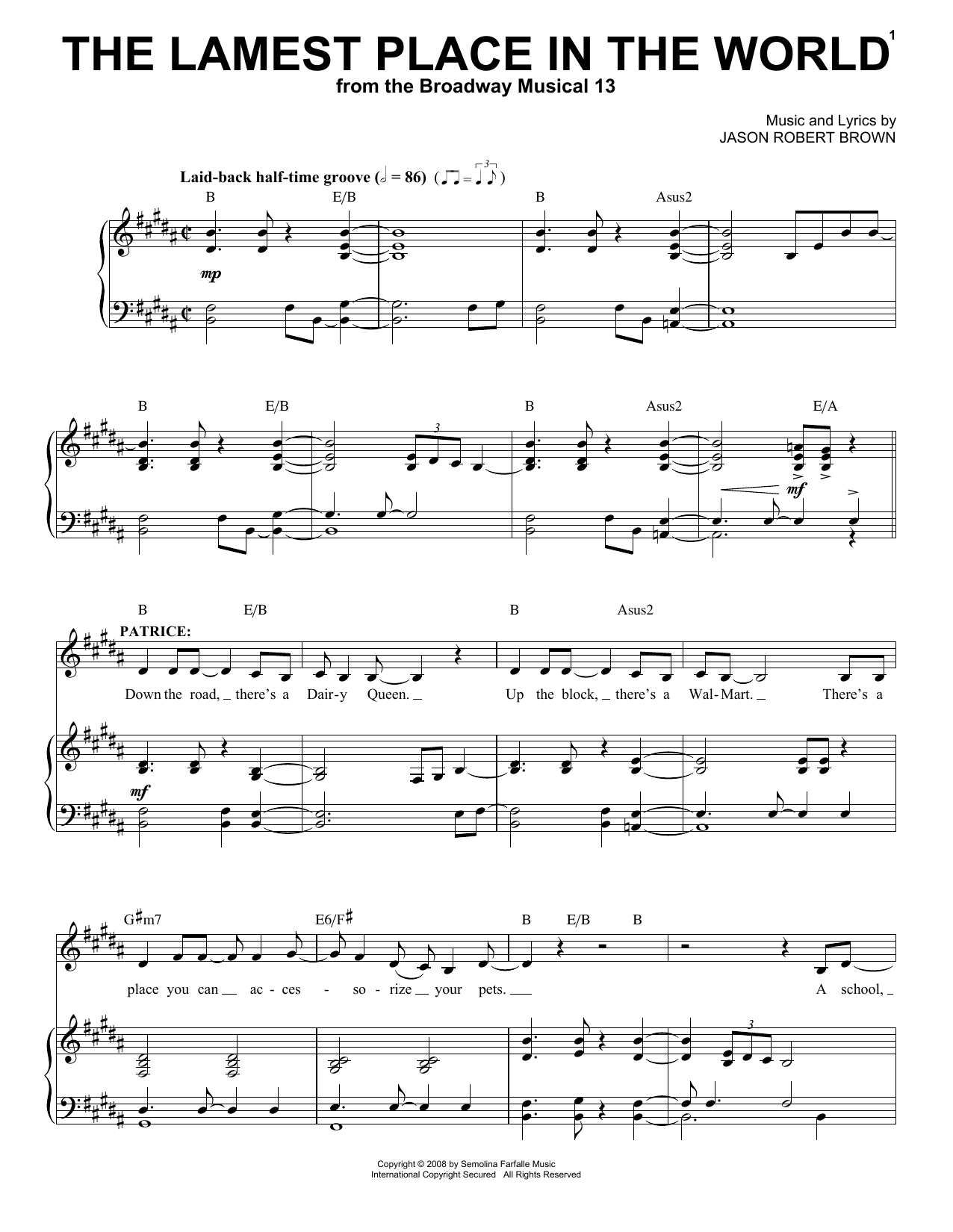 The Lamest Place In The World sheet music for voice and piano by Jason Robert Brown