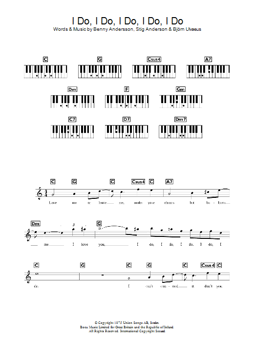 I Do, I Do, I Do, I Do, I Do sheet music for voice and other instruments (fake book) by Stig Anderson