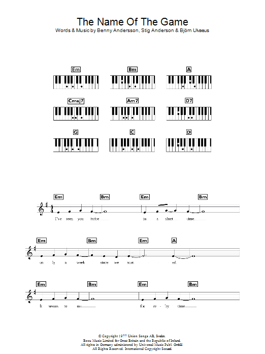 The Name Of The Game sheet music for piano solo (chords, lyrics, melody) by Stig Anderson