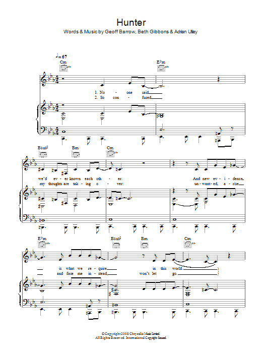 Hunter sheet music for voice, piano or guitar by Adrian Utley