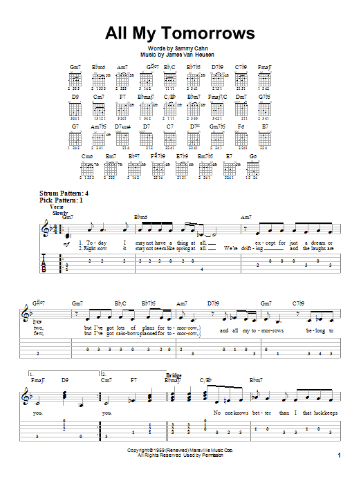 Tablature guitare All My Tomorrows de Frank Sinatra - Tablature guitare facile
