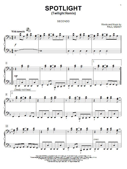 Partition piano Spotlight (Twilight Remix) de Mute Math - 4 mains