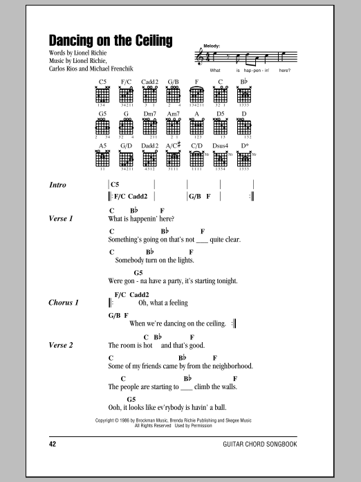 Dancing On The Ceiling By Lionel Richie Guitar Chords