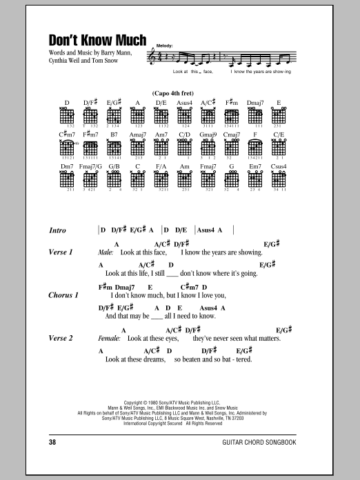 Don't Know Much sheet music for guitar solo (chords, lyrics, melody) by Tom Snow