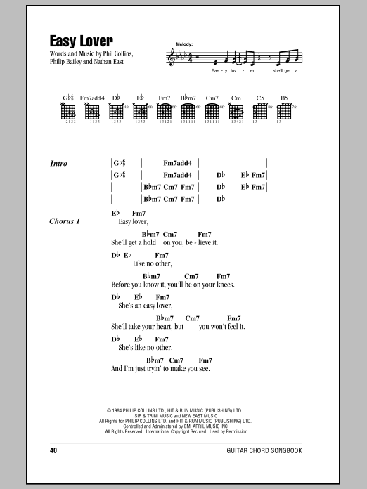 Easy Lover sheet music for guitar (chords, lyrics, melody) by Nathan East