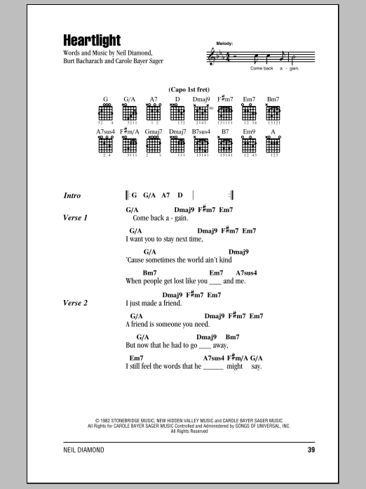 Heartlight sheet music for guitar solo (chords, lyrics, melody) by Carole Bayer Sager