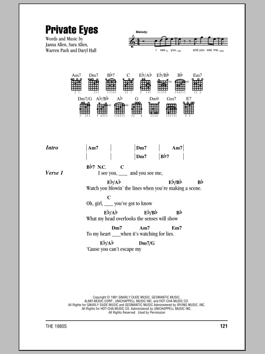 Private Eyes sheet music for guitar solo (chords, lyrics, melody) by Warren Pash