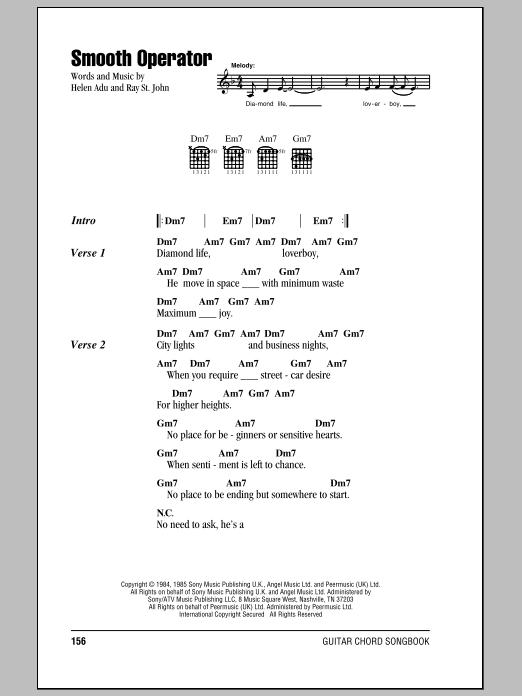 Smooth Operator sheet music for guitar solo (chords, lyrics, melody) by Ray St. John