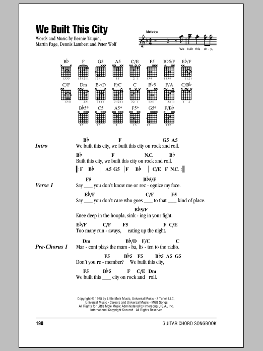 We Built This City sheet music for guitar solo (chords, lyrics, melody) by Peter Wolf