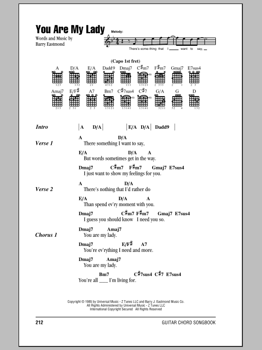 You Are My Lady sheet music for guitar solo (chords, lyrics, melody) by Barry J. Eastmond