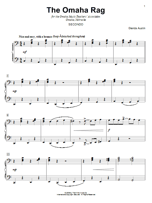 The Omaha Rag sheet music for piano four hands (duets) by Glenda Austin