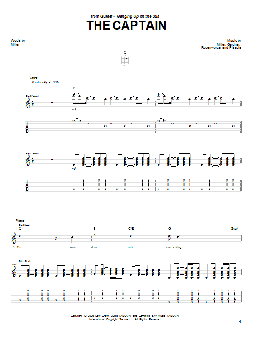 Tablature guitare The Captain de Guster - Tablature Guitare