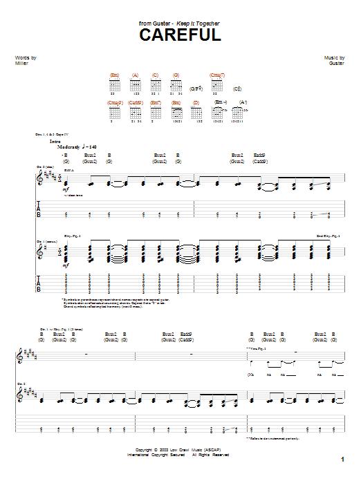 Tablature guitare Careful de Guster - Tablature Guitare