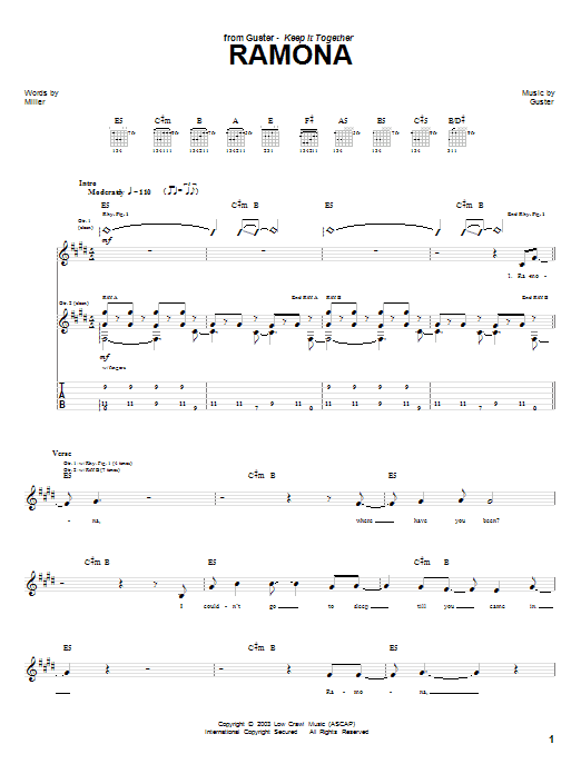 Tablature guitare Ramona de Guster - Tablature Guitare
