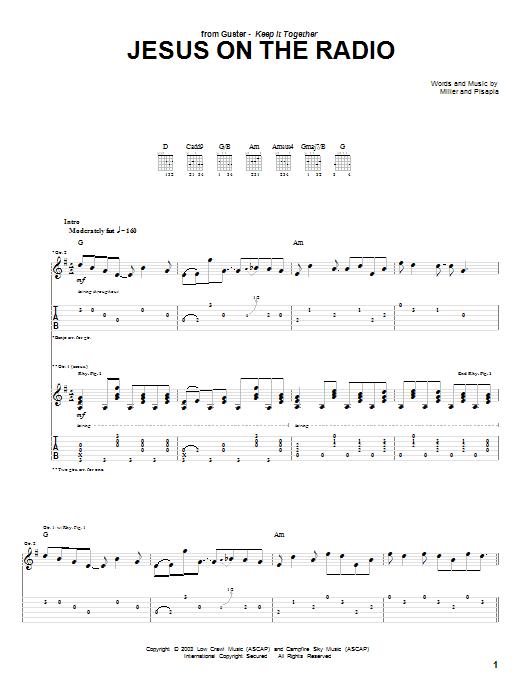Tablature guitare Jesus On The Radio de Guster - Tablature Guitare