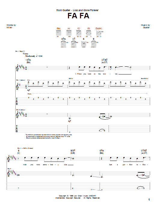 Tablature guitare Fa Fa de Guster - Tablature Guitare