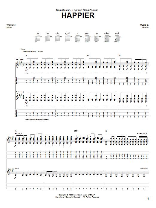 Tablature guitare Happier de Guster - Tablature Guitare