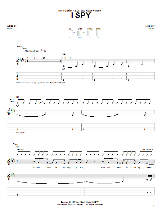 Tablature guitare I Spy de Guster - Tablature Guitare