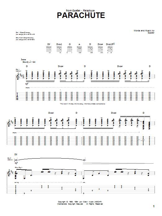 Tablature guitare Parachute de Guster - Tablature Guitare