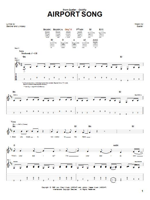 Tablature guitare Airport Song de Guster - Tablature Guitare